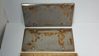 Metal License Plate Protector Set Pair Rare Vintage Heavy Duty Frame