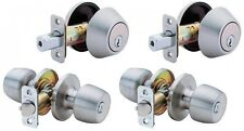 2-Combo Stainless Steel Entry Door Lock Knobs and Deadbolts Project Value Pack
