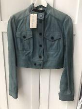 Burberry Women Lambskin Leather Biker Jacket Blue UK 10 New