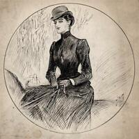 ALFRED BRYAN (1852-1899) Small Pen & Ink Drawing SEATED FEMALE PORTRAIT STUDY