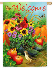 "29"" x 43"" Boot Bouquet Welcome 2 Sided Message Autumn Fall Large Banner Flag"