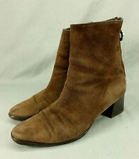 Rossi & Caruso Suede Leather Ankle Boots Back Zip Brown 6