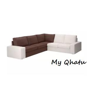 IKEA KIVIK Corner Section sofa Cover Slipcover BORRED DARK BROWN 703.429.53 New