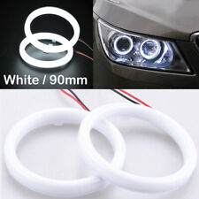 2pcs 90mm DRL COB LED Angel Eyes Halo Ring Fog Headlight Lamp Light White
