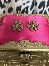 Betsey Johnson Vintage Picnic Black & White Checkered Crystal Flower Earrings