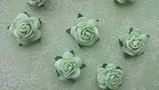 Mint Green Mulberry Paper Roses, 15mm, Shabby Chic, Wedding, Craft Embellishment