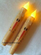"""Snowman Face Led Timer Taper Candles Set of 2 - 6 3/4"""" Tall Winter Primitive"""