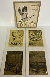 Sportsmen's Portfolio by RH Palenske with 4 Original 60s Gold-Etch Prints