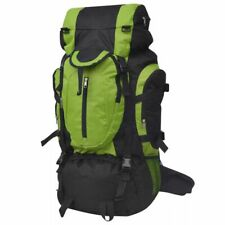 vidaXL Hiking Backpack XXL 75L Black and Green Camping Rucksack Luggage Bag