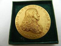 Charles II King Of Spain Royalty Gilt Bronze Medal Coin X & F Calico Barcelona