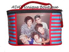 1D One Direction Make Up Case Bag Train Case Striped Glitter  Makeup Bag NWT