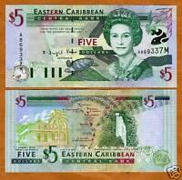 Eastern East Caribbean, $5 (2000), Montserrat P-37m UNC