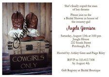 20 Personalized Custom Western Cowgirl Bridal Shower Invitations Set Wedding