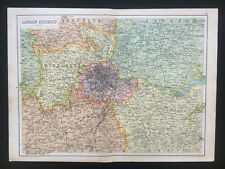 Antique Map Of London England Middlesex Essex Kent 1910 John Bartholomew & Co