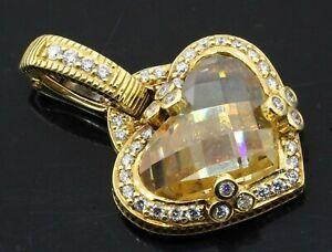 Judith Ripka 18K gold .40CTW VS diamond/10 X 14mm Heart cut Lemon quartz pendant