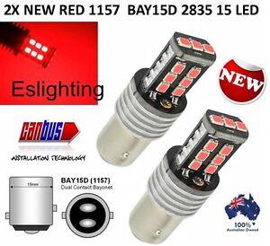 2X BAY15D 1157 P21/5W RED 2835 15 LED BRAKE STOP TAIL LIGHT CANBUS BULB GLOBE