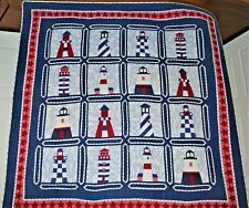 Handmade Light House Quilt Hand Stitched Back is White 80X80  King Size