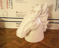 "Large White Cream Ceramic Horse Head Figurine 12"" x 12"" x 5"" Modern"