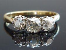Stunning 18ct Gold and Platinum 0.87ct 3 Old mine cut Diamond ring M19