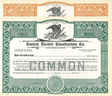 Central Electric Construction Co > Chicago, Illinois old stock certificate share