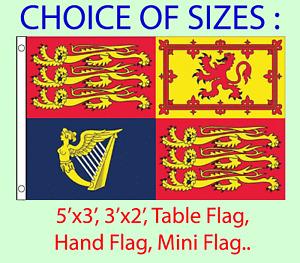 UK Royal Standard Flag Choice of 5x3' 3x2', Hand Flag, Table Flag. Free P&P