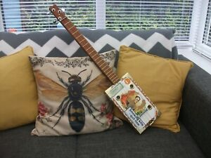 3 STRING HOMEMADE FRETTED LEFT-HANDED ACOUSTIC/ELECTRO CIGAR BOX GUITAR.