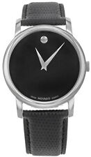 Movado 2100002 Museum Black Dial Black Leather Strap Men's Watch