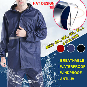 Reflective Men Raincoat Hooded Anti-UV Rain Cover Jacket Pant Suit Waterproof