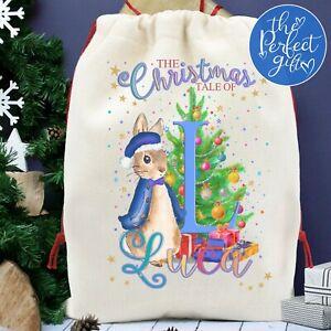 Rabbit Christmas Sack Girl Boy Xmas Present Stocking Personalised Peter Gift Bag