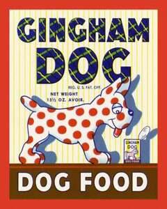 Dog Print, Vintage Dog Food Label Wall Art, 1940s Art Deco, Dog Poster