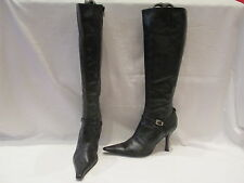 KENNETH COLE BLACK LEATHER KNEE HIGH HEEL ZIP UP BOOTS UK 4.5 US 7 (369)