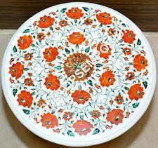 "18""x18"" Marble White Top Coffee Table Carnelian Inlay Pietradura Veterans Gift"