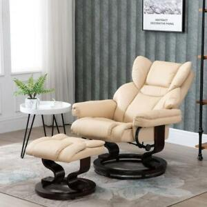 Thick Padded Reclining Armchair Manual Recliner Chair Beige Footstool Bentwood
