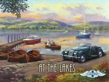 At the Lakes Metal Sign, Antique Morgan Roadster, Vintage Motor and Sail Boats
