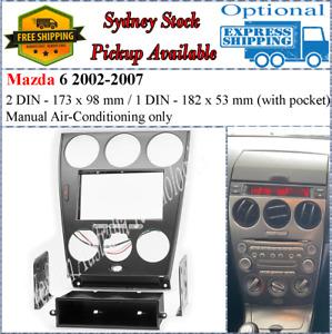 Fascia facia Fits Mazda 6 2002-2007 Pocket Harness Double Two 2 DIN Dash Kit