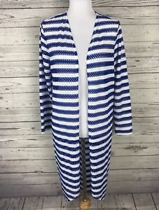 Chico's Women's Blue / White Striped Open Front Cardigan / Cover Up Size 1 (M/8)