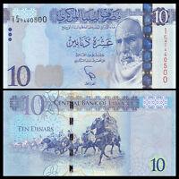 Libya Lybien 10 Dinars, 2015, P-82 New, UNC>New Design