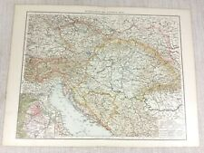 1898 Antique Map of Austria Hungary Austro Hungarian Empire Old 19th Century
