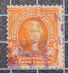 Scott 310 - 50 Cents Jefferson - Used - Nice Stamp - SCV - $35.00
