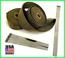 "Titanium Lava Exhaust Header Pipe Heat Wrap 2 Rolls 2""x 25' Stainless ties kit"
