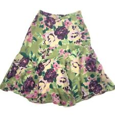 Coldwater Creek PS Petite Small Skirt Green Purple Floral Lined Korean Fabric
