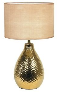 Table Lamp Light Modern Ceramic Gold With Lampshade PVC