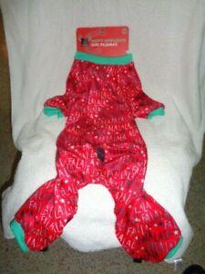 Dog Christmas Pajamas FuzzYard Happy Holiday Red Green FA LA LA PJs SZ 4 Med NEW
