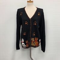 Victoria Harbour Womens Sweater Small Black Mult-color Embroidered Cats Kittens