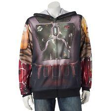 New Men's Disney Star Wars Hoodie Jacket.  Boba Fett.  Size Large full faced.