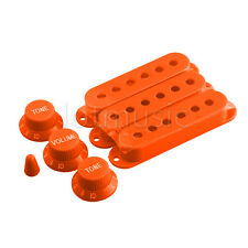 Strat Guitar Covers and Knobs Set Orange 3 Covers 1Volume 2 Tones Switch Tip