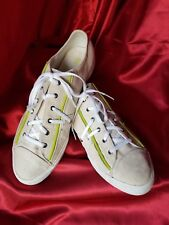 PF Flyer women's 11 cream green piping  white laces 7 eyelets  canvas light use