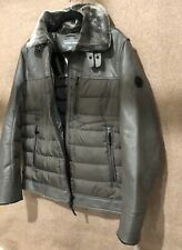 Michael KORS Mid Grey Leather Quilted Packable Down Puffer Jacket Mens Size Med