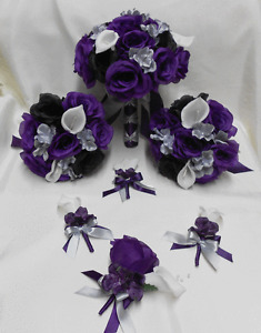 Silk Flower Wedding Bridal Bouquet Purple Eggplant Silver Black Rose Calla Lily