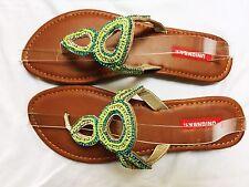 Union Bay Green & Blue Embellished Thong Sandals, Size 9: Summer, Beach Wedding